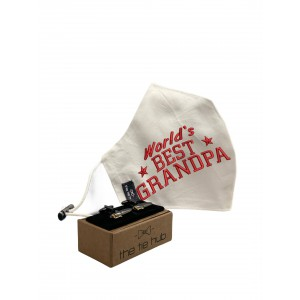 BEST GRANDPA red Face Mask with Fountain Pen Cufflinks
