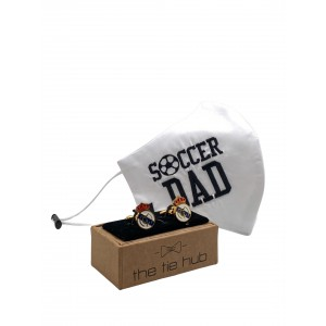 SOCCER DAD Face Mask with Football Team Cufflinks