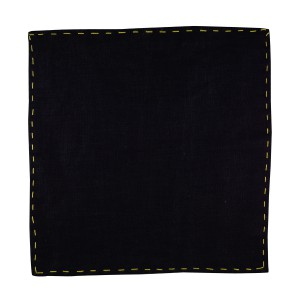 Fountain Solid - Black/Yellow (100% Pure Linen Pocket Square)