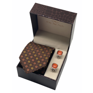 Brown Yellow Floral and Cufflinks