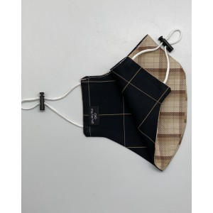 Brown and Black checkered 100% Premium Cotton Reusable Reversible Face Mask
