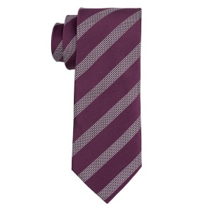 District Purple And Grey Stripe Microfiber Necktie