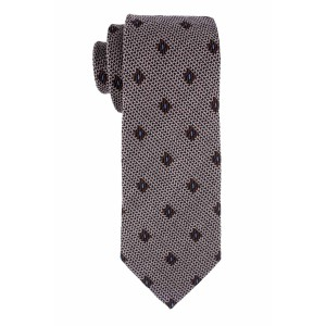 Grey Wave With Blue Dotted Necktie In Wool And Silk