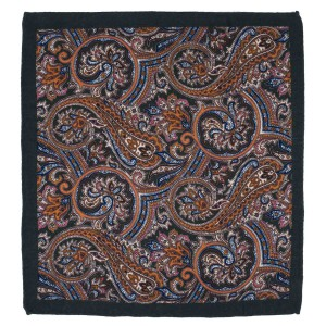 Serpentine Paisley Green Wool Pocket Square For Me By The Tie Hub