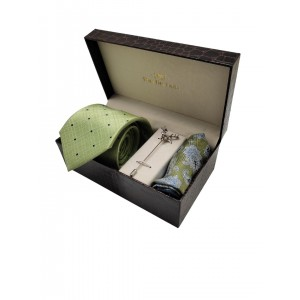 Sea Green Necktie with Lapel Pin and Pocket Square Combo