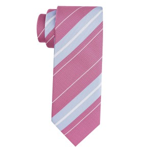 Juno Pink And Blue Stripe Microfiber Necktie