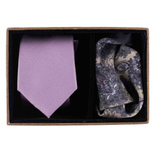 Striker Solid Lavender Microfiber Necktie With Silk Pocket Square