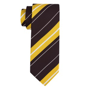 Juno Brown And Yellow Stripe Microfiber Necktie
