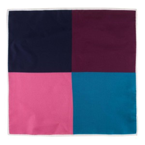 Four Square Solid Pink and Blue Silk Pocket Square For Men By The Tie Hub