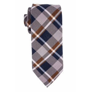 Grey, Blue And Brown Plaid Wool And Silk Necktie For Men By The Tie Hub