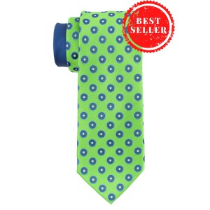 Pulsating Polka Green Silk Necktie