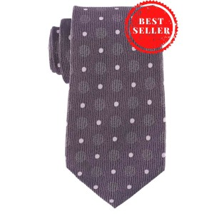 Grey Silk 7 Fold Necktie With White Dots