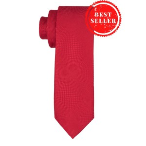 Virtual Red Geometric Silk Necktie