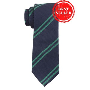Lighthouse Stripe Blue and Green Silk Necktie