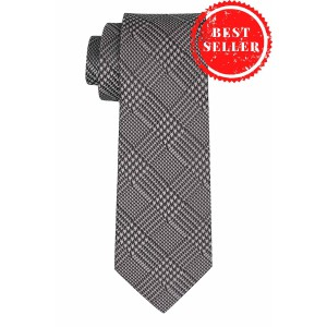 Wool Plaid Silver Silk Necktie