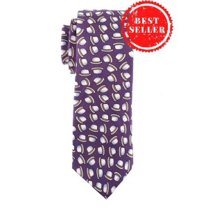 Hat Print 100% Silk Purple Necktie