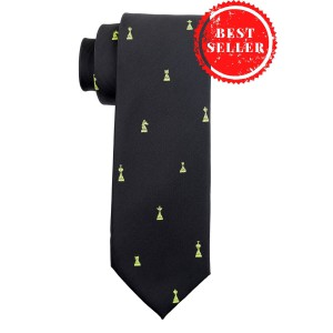 Chess Black Microfiber Necktie