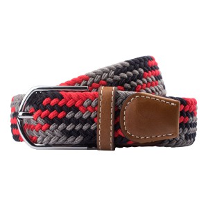 Mink-Red/Grey/Black Elasticated Woven Belt