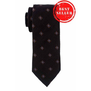 Black Wave With Blue Dotted Necktie In Wool And Silk By The Tie Hub