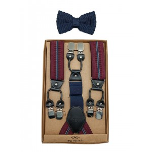 Native Thread Y Back Suspender with Blue Knitted Bow Tie Combo Set