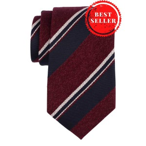 Honor Maroon With Blue Stripe 50% Silk and 50% Wool Necktie