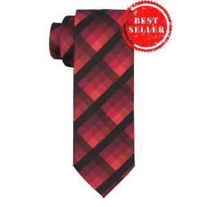 Refinado Plaid Red And Black Necktie