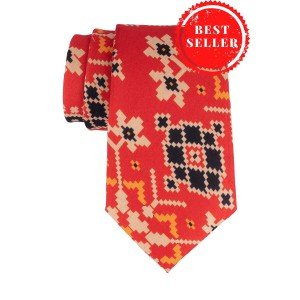 Orange Patola 60% Silk 40% Cotton Necktie
