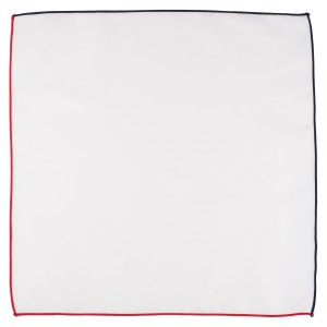 Fountain Solid White Pocket Square With Blue and Red Border For Men By The Tie Hub