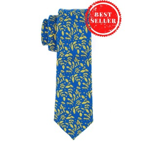Floral Blue With Yellow Leaf Cashmere Necktie