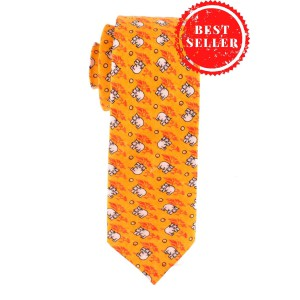 Hippo Print 100% Silk Orange Necktie