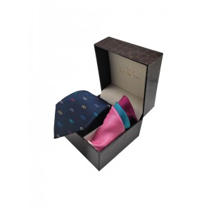 Specs Navy Blue Necktie with 4 Square Pocket Square Combo