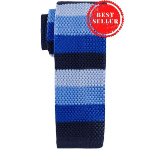 Edition Striped Blue Slim  Knitted Necktie