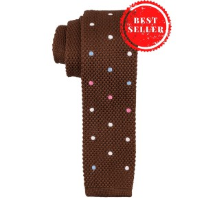Dark Brown with Polka Dots Slim Knitted Necktie
