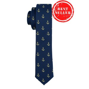 Green Anchor In Blue Ultra Thin Woven Microfiber Necktie