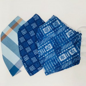Blue and Indigo Checkered Face Mask Pack of 3