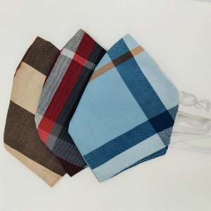 Blue, Gary and Beige Checkered Face Mask Pack of 3