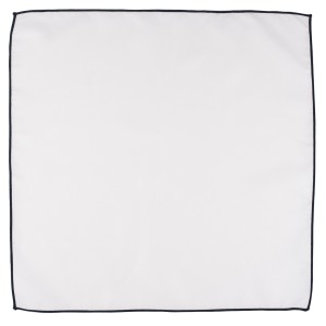 Fountain Solid White Pocket Square With Blue Border For Men By The Tie Hub