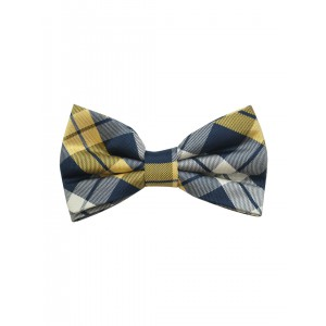 Navy Blue And Yellow 100% silk Checkered Bow Tie