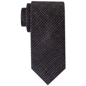 Darker Black Plaid  100% Wool Necktie