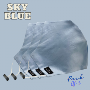 Sky Blue Solid 100% Premium Cotton Reusable Face Mask ( Pack of 3)