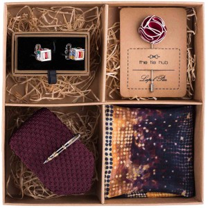 Maroon Solid Knitted Necktie Combo