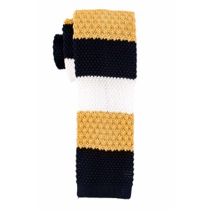 Cast Stripe Blue And Yellow Slim Handmade Knitted Necktie