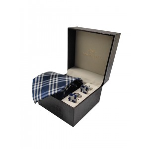 Blue Plaid Diffrent Tail and MOP Cufflink Combo
