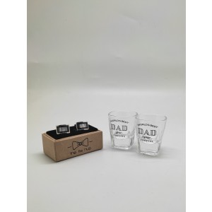 Shot Glasses and Black MOP Curved Cufflinks