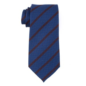 Blue with Brown Stripes Regular 100% Silk Necktie