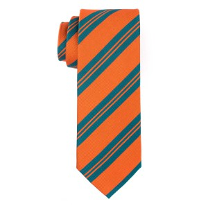 Detour Orange with Green Stripes Slim 100% Silk Necktie