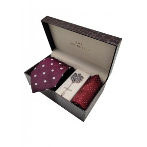Wine Polka Necktie with Lapel Pin and pocket Square combo