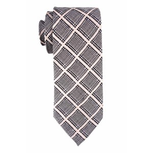 Black And Off-White Plaid Wool And Silk Necktie