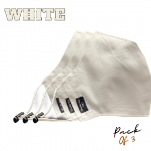White Solid 100% Premium Cotton Reusable Face Mask ( Pack of 3)