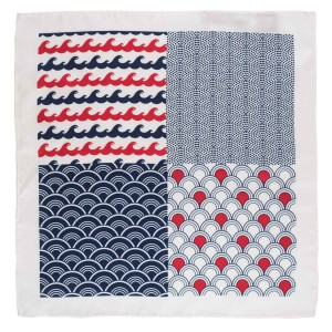 Four Square Printed Red and Blue Silk Pocket Square For Men By The Tie Hub